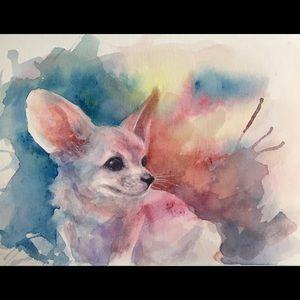 Original painting fennec Fox Wildlife art fox cub